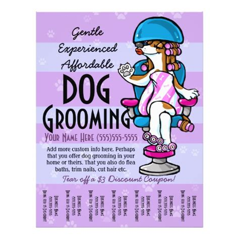 grooming flyers template grooming customizable promotional tear sheet 8 5 quot x