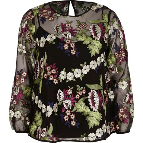 Floral Embroidered Top black floral embroidered mesh sleeve top tops