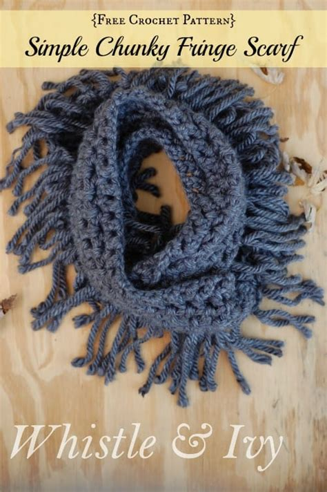 simple chunky fringe crochet scarf skip   lou