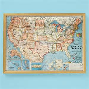 vintage framed usa map wall