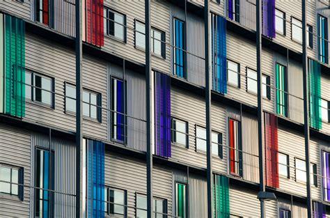 angle shot  apartment buildings  stock photo
