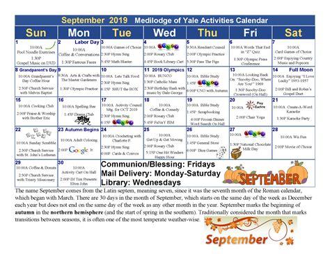 september calendar medilodge yale