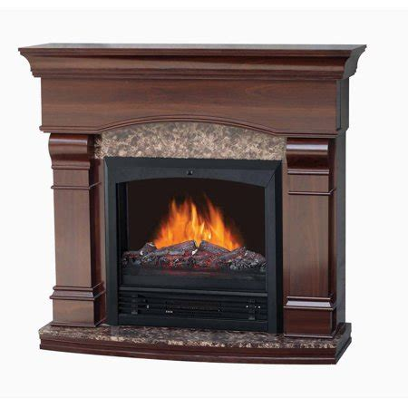 electric fireplace with 47 quot mantle walnut walmart