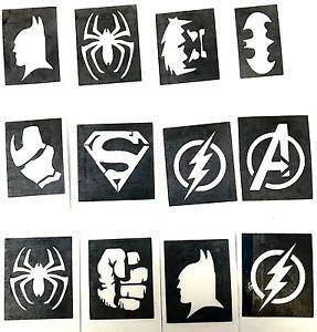batman glitter tattoo 24 x superhero batman ironman hulk fist flash superman