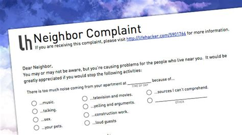 Complaint Letter Loud Neighbors Usa Today Says Noise Is Most Common Dispute