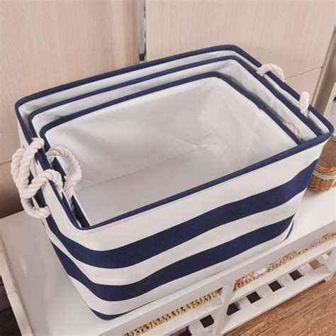 8 Cool Clothes Storage Items by Ttlife Style Navy Stripe Washing Clothes Laundry Canvas