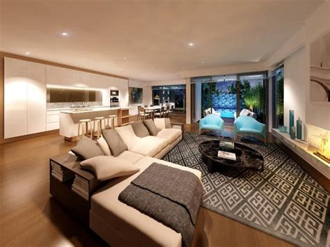 living area ideas open plan living room using brown colours with carpet