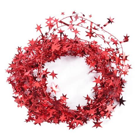 23 feet red star shaped tinsel wire garland christmas