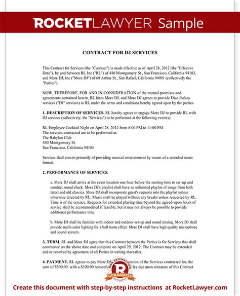 dj contract template dj contract template dj agreement with sle