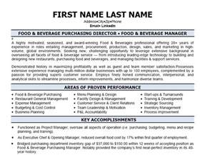 Food And Beverage Manager Sle Resume by Trackerstellar