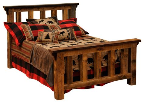 Cal King Rustic Bed Frame Barnwood Post Bed Reclaimed Rustic Wood California King Size Rustic Panel Beds By