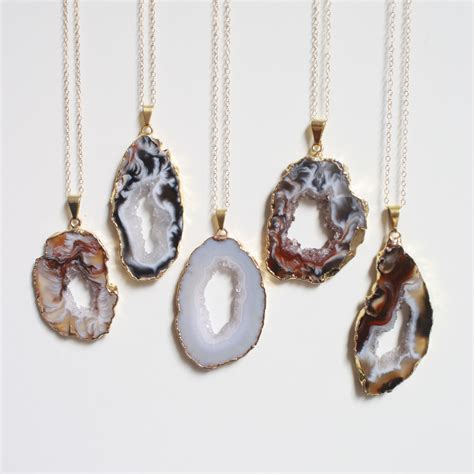 geode necklace festival necklace rock necklace by