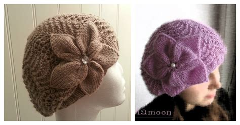 slouchy lace hat flower  knitting pattern