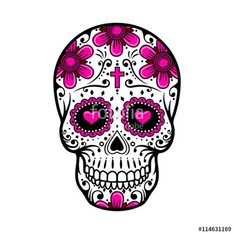 Quot Day Of The Dead Skull Sugar Flower Tattoo Vector Day Of The Dead Skull Vector
