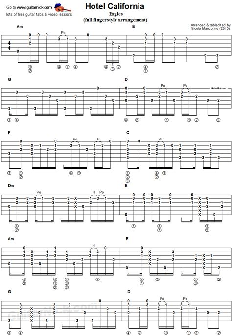 fingerstyle guitar tutorial for beginners hotel california fingerstyle guitar tab 1 guitar
