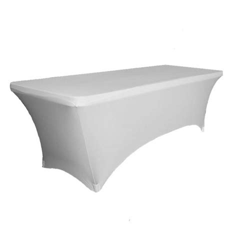 spandex table cover spandex rectangle 6ft table cover white contempo linens