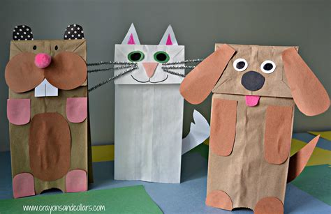 How To Make Paper Bag Puppets - crayons and collars with and pets easy paper