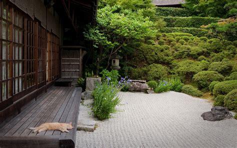 Japanese Garden With Cat Computer Wallpapers Desktop Desktop Rock Garden