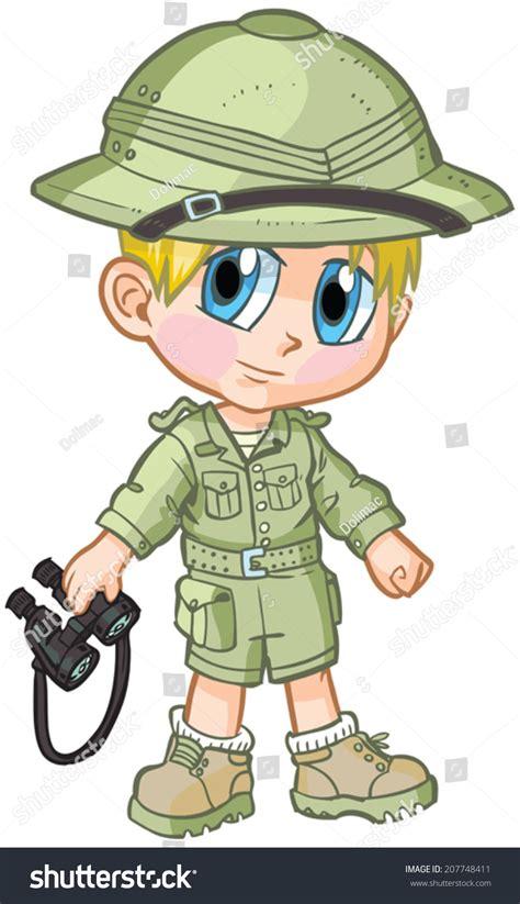 safari binoculars clipart vector cartoon clip art illustration caucasian stock