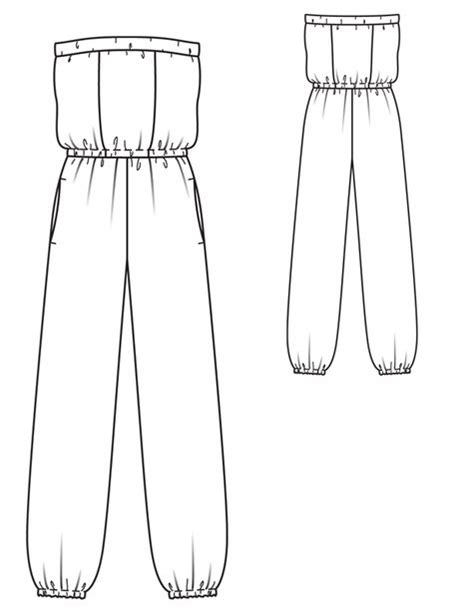 jumpsuit template free jumpsuit pattern sketch coloring page