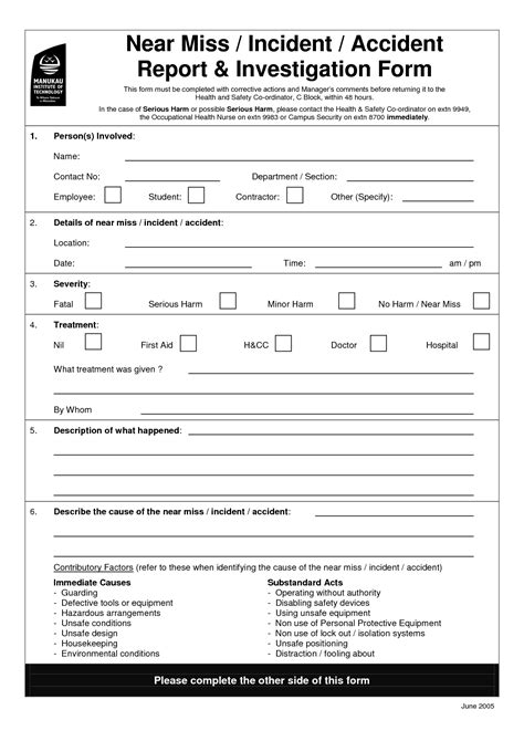 near miss reporting form template image gallery osha report form