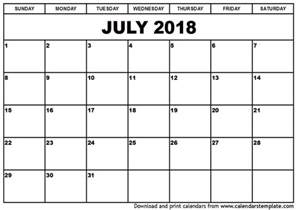 july 2018 calendar template blank calendar templates
