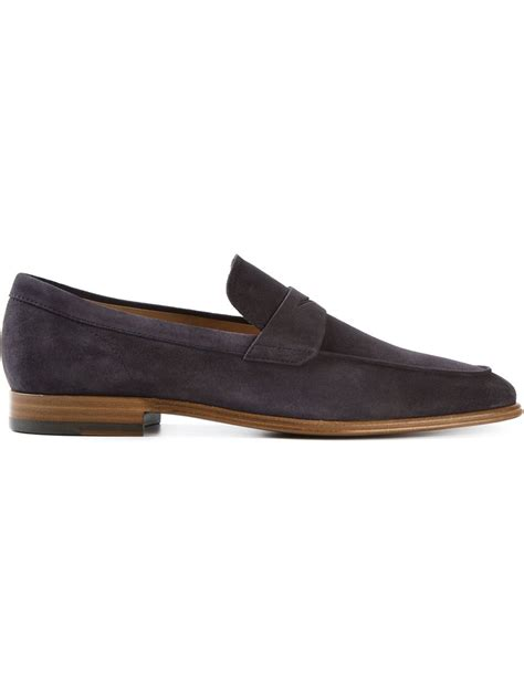 suede loafers tod s suede loafers in purple for blue lyst