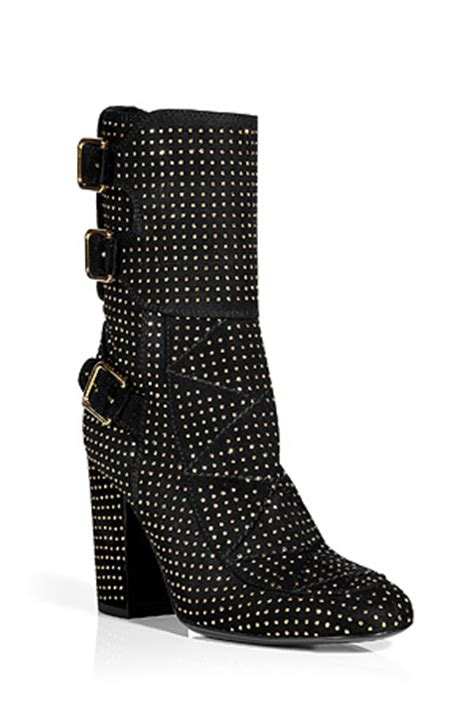 black suede half boots with gold studs by laurence dacade