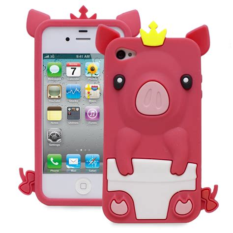 Softcase Pororo fosmon 3d pink pig silicone protector for apple