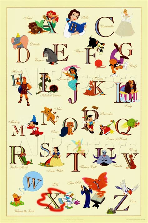 Disney Character Letter N Disney Character Alphabet Letters Quotes