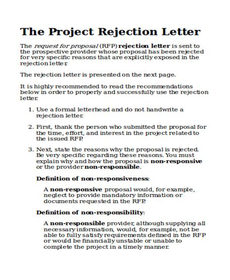 Rejection Letter Rfp bid rejection letter template jeppefm tk
