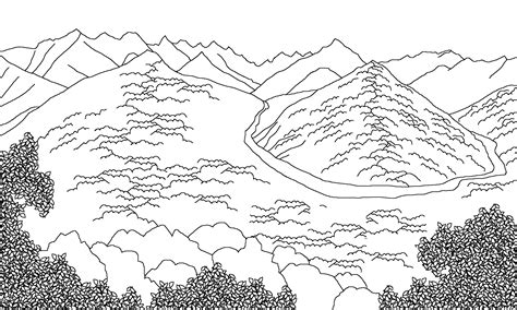 free coloring pages of mountain scene