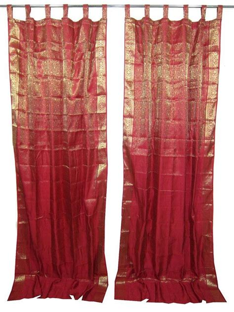 indian inspired curtains 2 indian sari curtains dark red gold from indie style