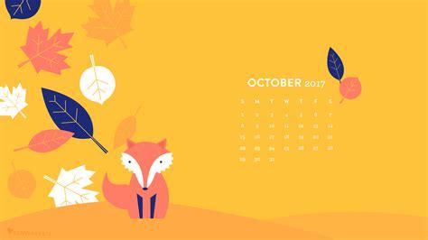 Calendar Desktop Fall Leaf And Fox October 2017 Calendar Wallpaper