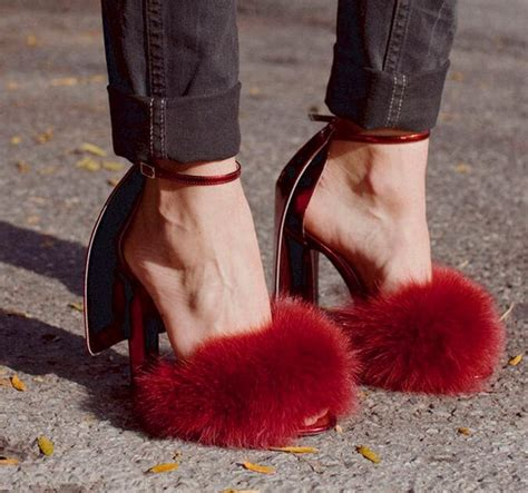 Best Seller Rabbit Top Bl4869 top selling peep toe rabbit fur high heel sandals fashion ankle buckle summer sandals black
