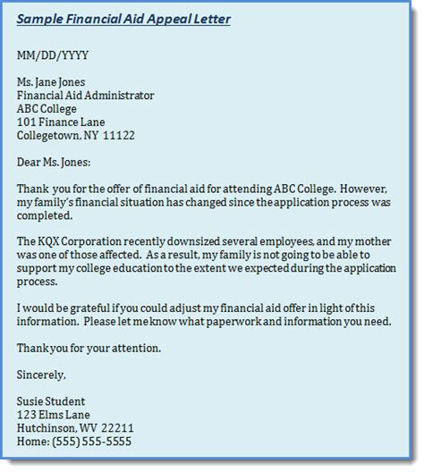 Appeal Letter For College Financial Aid Exles Exle Of Appeal Letter New Calendar Template Site