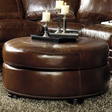 round leather ottomans brown round leather ottoman round ottoman w bun feet