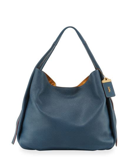 Coach 1941 Pebbled Leather Bag by Coach 1941 Glove Tanned Pebbled Leather Hobo Bag Blue