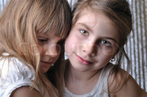 7 year old girl stock photo close up portrait of two 6 7 year old girls stock photo