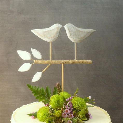 Handmade Etsy - rustic wedding cake topper birds topper handmade