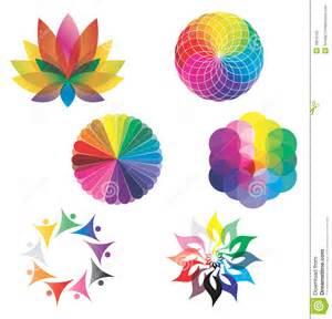 set of color wheels lotus flower rainbow colors stock