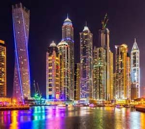 colorful cities dubai city skyscrapers building night lights colorful splendor arab emirates hd wallpaper