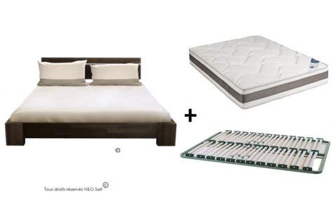 lit bois massif avec sommier et matelas chambre de