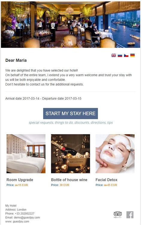 Guestjoy Pre Arrival Email Hotel Upsell Review Management Guestjoy Hotel Pre Stay Email Template