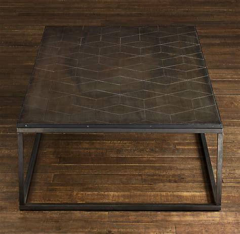 restoration hardware table restoration hardware metal parquet coffee table