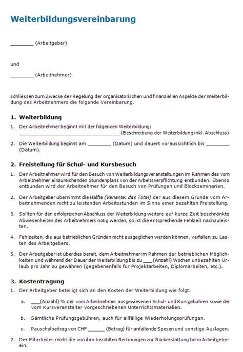 Vorlage Praktikumsvertrag Schweiz Weiterbildungsvereinbarung Vorlage Zum