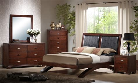 bedroom set faux leather cherry finish