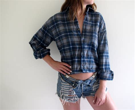 Crop Flanel plaid shirt flannel womens cropped crop top tunic button up