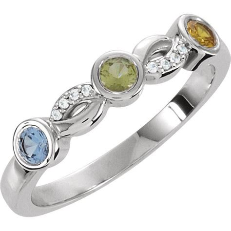 silver 3 stones stackable s ring