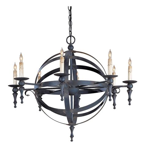 Wrought Iron Sphere Chandelier Armillary Detailed Sphere Wrought Iron 8 Light Chandelier Kathy Kuo Home